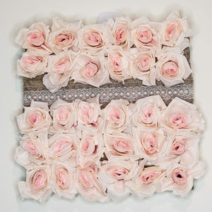 Burlap, pearl, and lace 12x12 rose wall hanging